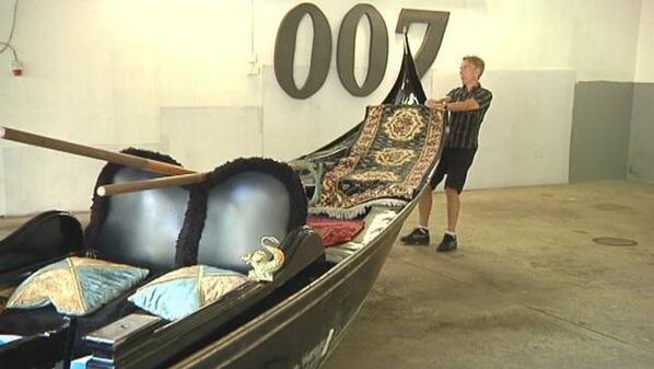 Gondola  fromVenice to James Bond 007 Museum in Nybro Sweden Moonraker James Bond movie 1979 with Roger Moore Bondola