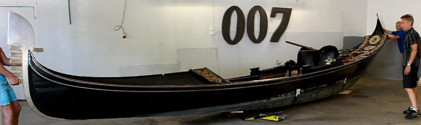 Sweden's first Gondola from Venice to James Bond Museum in Nybro world's only James Bond museum similar to the gondola that was used in the Bond film
