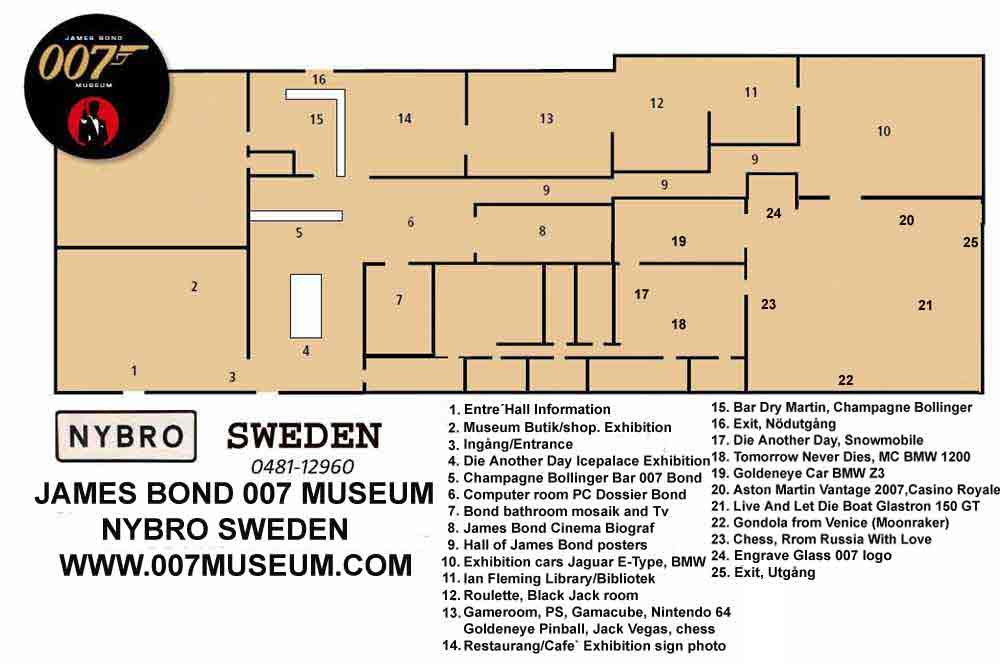 Booking! Call or emejl +46(0)48112960 ,  007museum@telia.com MAP OVER THE JAMES BOND 007 MUSEUM IN SWEDEN NYBRO over 1000 square meter