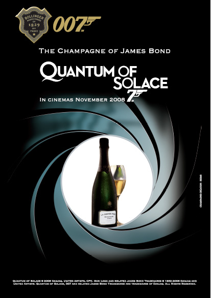 Affisch  James Bond  THE OFFICIAL CHAMPAGNE BOLLINGER POSTER OF JAMES BONDS QUANTUM OF SOLACE.   LA GRANDE ANNE�E 1999