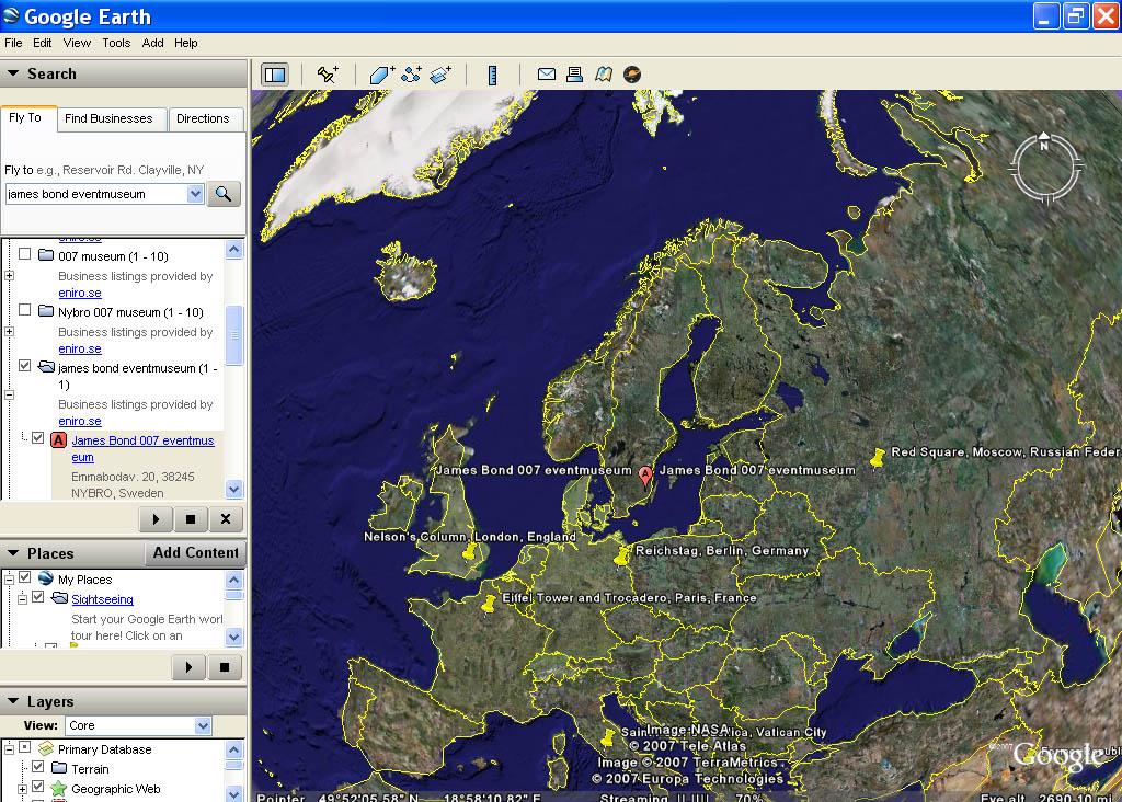 Nytt Att Google Earth Har Tagit Med James Bond Museum På - Sweden map google