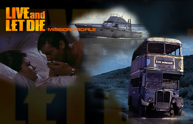 Solitaire and James Bond (Roger Moore) with Double-Decker Buss old style English double decker