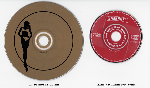 Mini CD single, an 80 mm disc. The format is mainly used for audio CD singles in certain regions (singles are sold on normal 120 mm