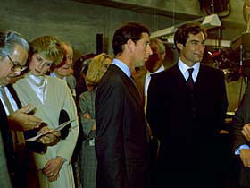 Prince Charles and Lady Diana inspection at Pinewood studios with Broccoli and Timothy Dalton
