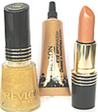 Revlon 007 Collection Comprising of Super Lustrous Lipstick ( Guilded Chrome), a Revlon Nail Polish (Golden Eye) and a Eye Shadow ( Golden Eye).!