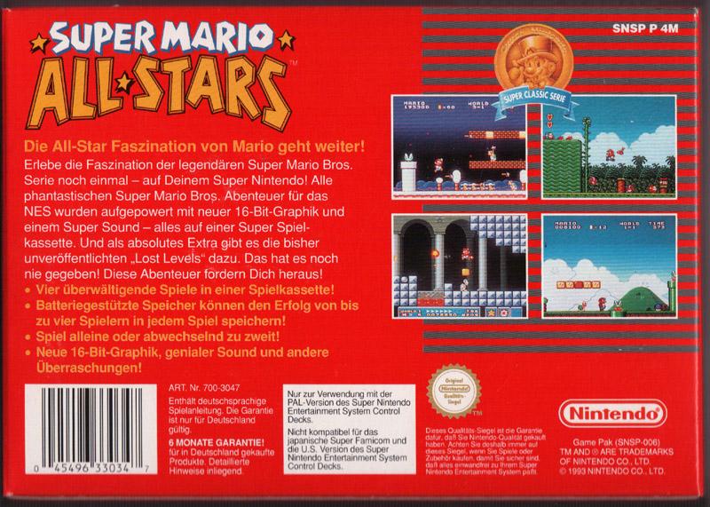 SUPERNINTENDO SUPERMARIO Super Mario All Stars