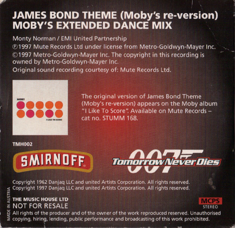 SMIRNOFF MINI CD TOMORROW NEVER DIES 1997  JAMES  BOND THEME(MOBY`S RE-VERSION)   MOBY`S EXTENDED DANCE MIX