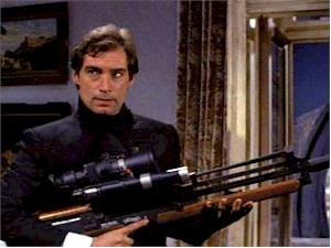"Walther Sniper's Rifle: In the sequence subsequent to the titles, Bond sets up the scene for the ""defection"". He uses this weapon to seek and eliminate any KGB snipers who could be on guard against the coup. The gun houses an infrared scope through which Bond identifies the sniper to be the novice Kara - he then misses on purpose as a result. The gun can use either soft-tipped or (007's preference) the steel-tipped bullets."
