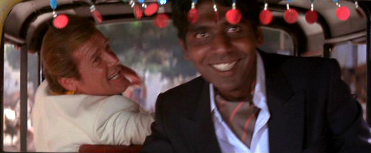 The standard Indian Tuk-Tuk taxi, a simple three-wheeled rickshaw of types, is modified by Q-Branch and driven by Vijay. Bond becomes worried when Gobinda advances on them shooting big holes out of the Tuk-Tuks seats during a chase through Indian streets.