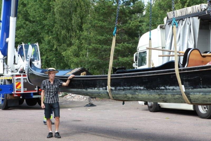 Unloading the Gondola in Sweden Nybro at The James Bond Museum now belong to
