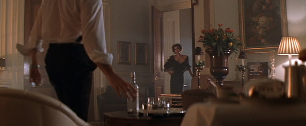 Paris Carver (Teri Hatcher) in a scene in our Ballroom with James Bond (Pierce Brosnan)