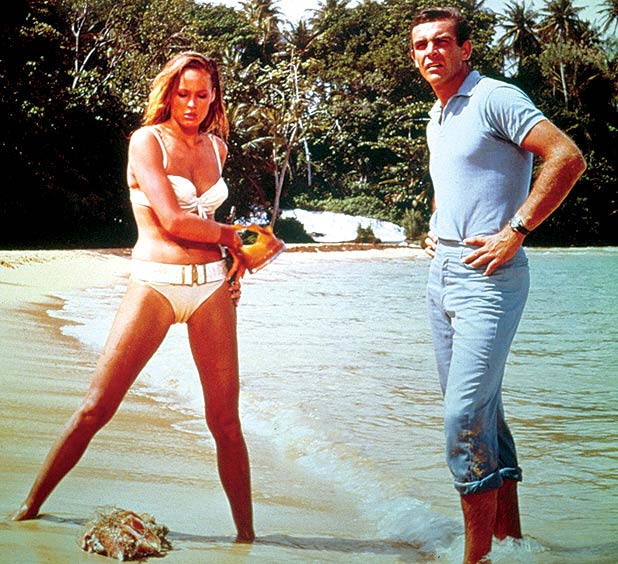James Bond Sean Connery with Ursula Andress at the Dunn`s River Fall Ocho Rios Jamaica.