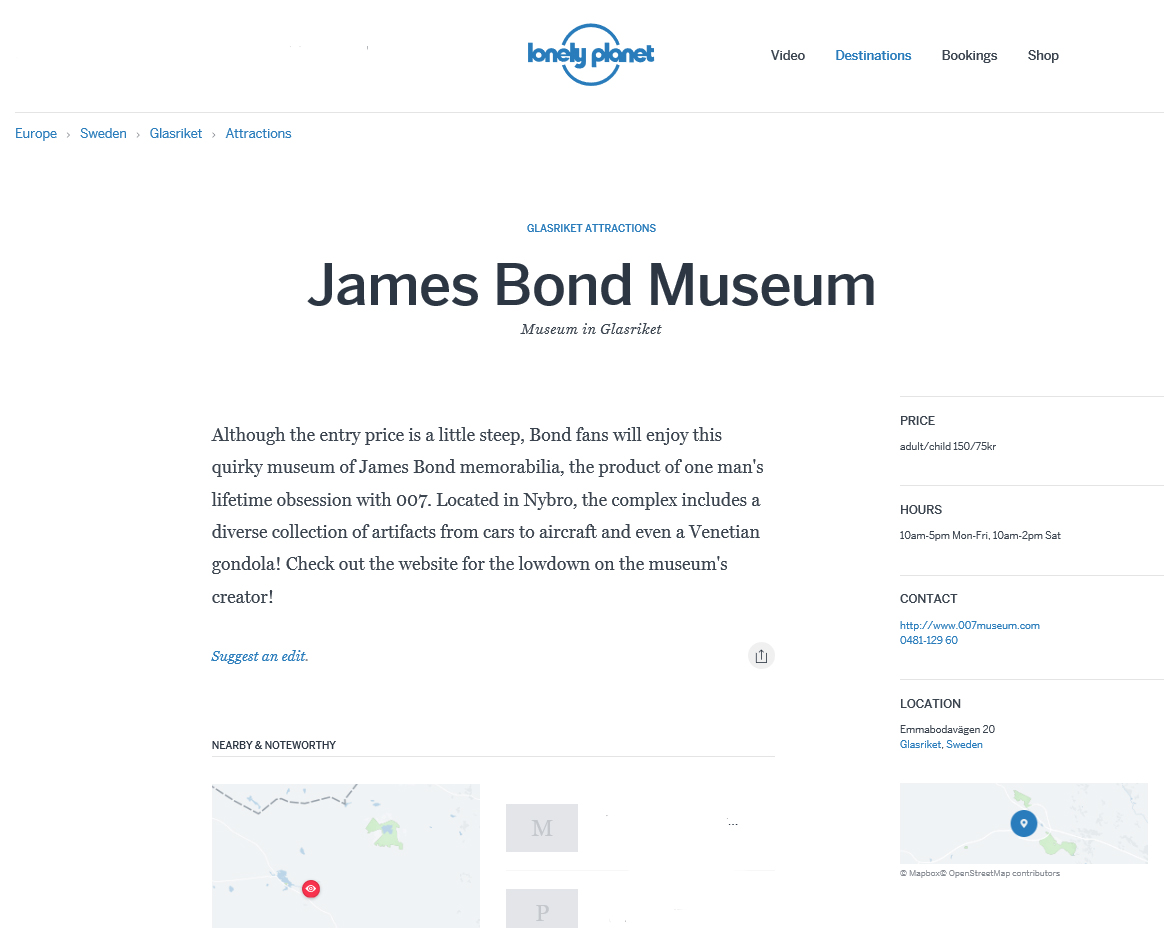 Lonelyplanetcom James Bond Museum Nybro Sweden - Sweden map lonely planet