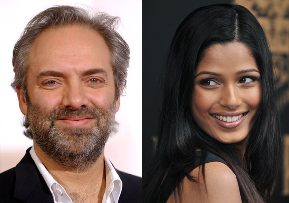 Sam Mendes and Freida Pinots in Bond 23