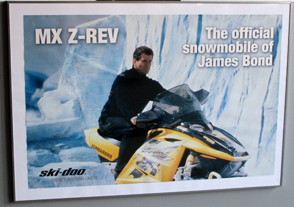 Pierce Brosnan as James Bond in Die Another Day. The official snowmobile of  James Bond   ski-doo MX Z-REV