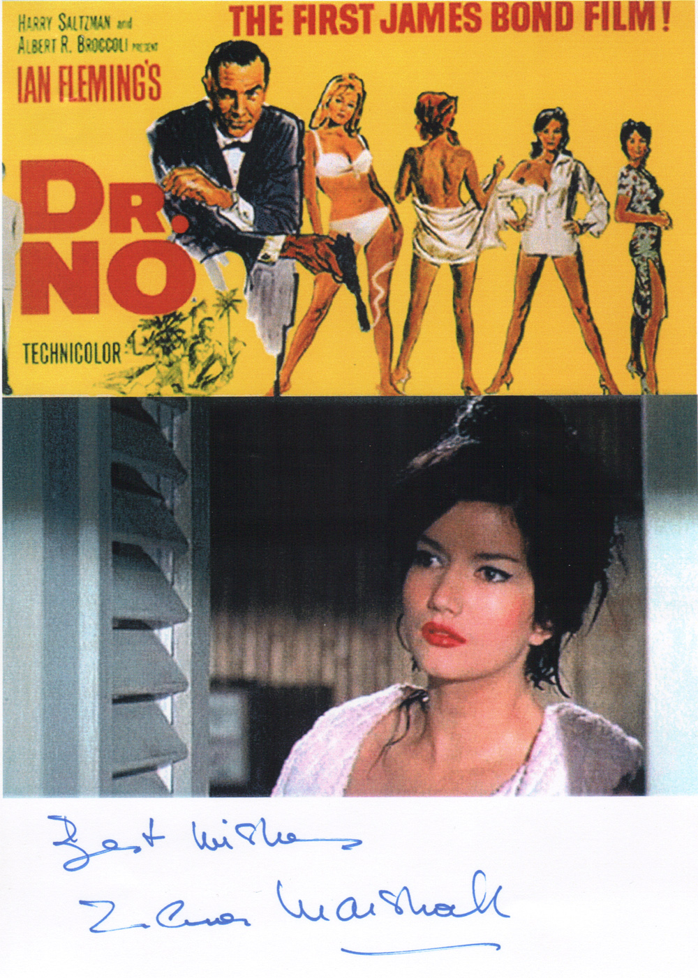 Best Wishes Zena Marshall Miss Taro in Dr No 1962 to James Bond 007 Museum in Nybro Sweden