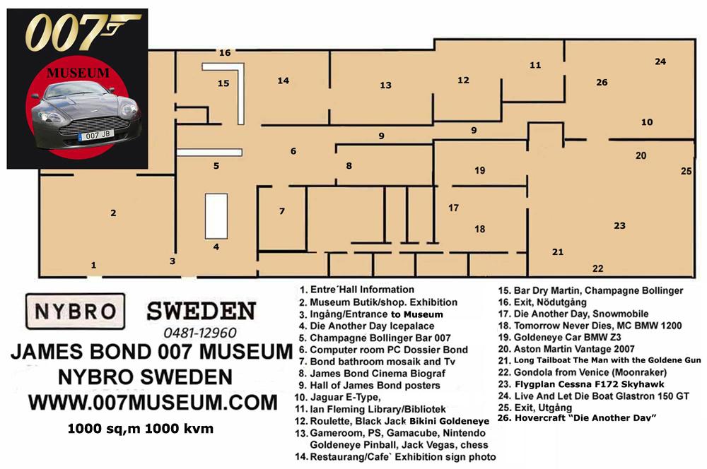karta kosta boda JAMES BOND 007 MUSEUM NYBRO SWEDEN karta kosta boda