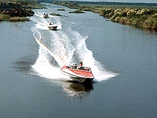 Glastron speedboats in the Louisiana boat chase.