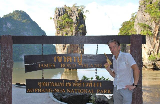 James Bond Island in Phang Nga Bay Thailand with James Bond 007 Museum founder Gunnar James Bond Schäfer