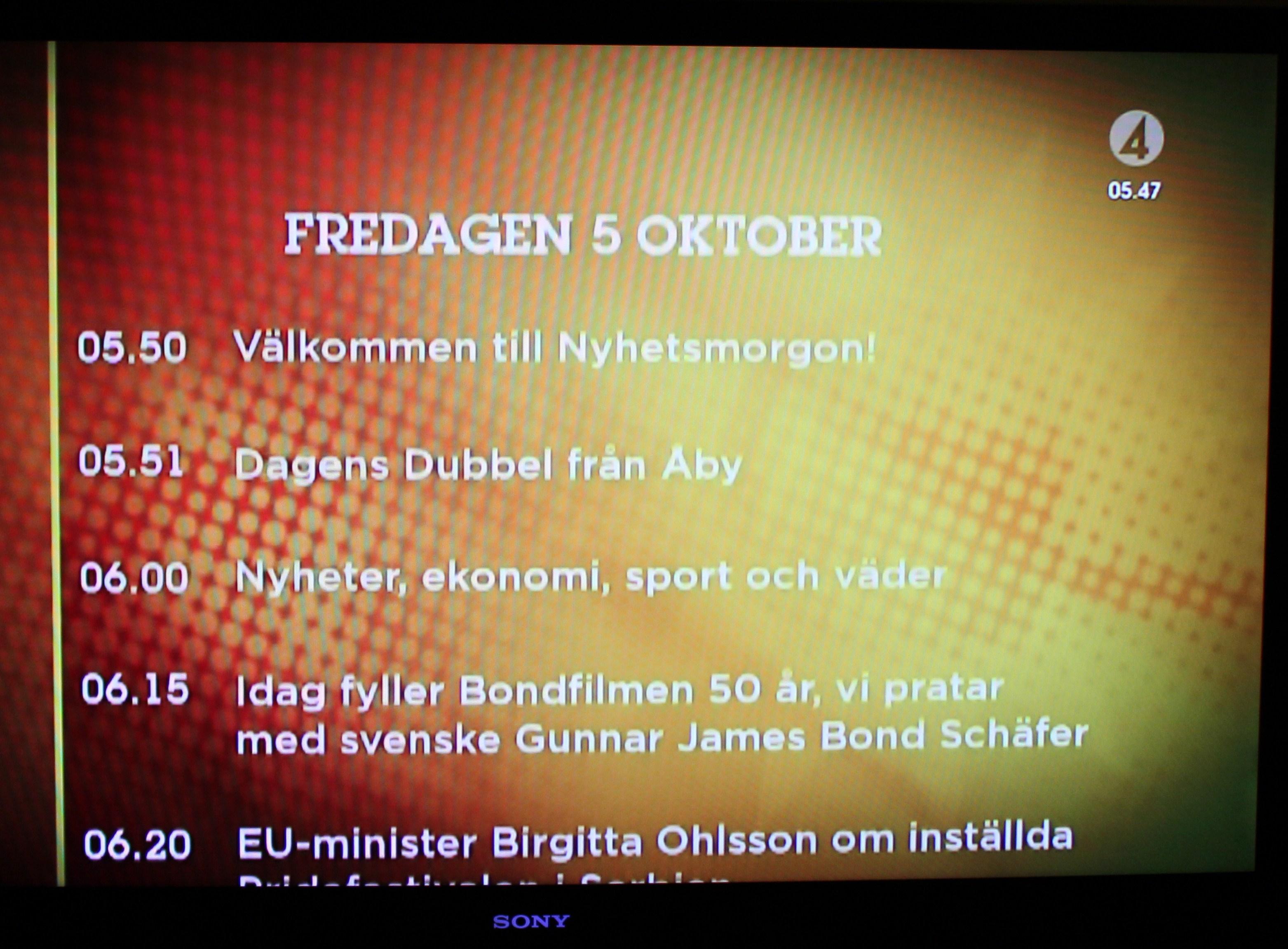 james bond 50 år Nyhetsmorgon TV 4 5 oktober James Bond 50 år och svenske Gunnar  james bond 50 år